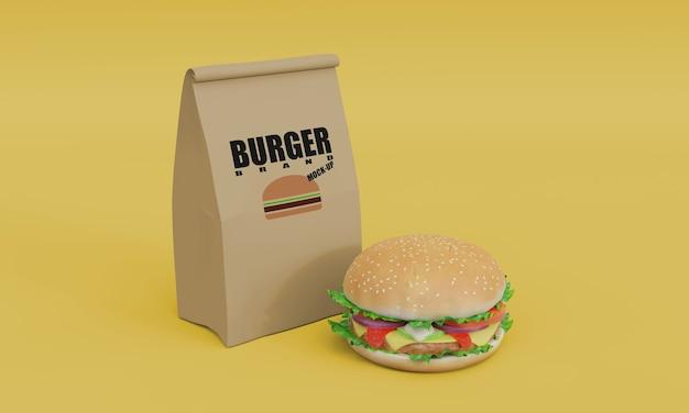 Burger mockup 3d render model packaging design