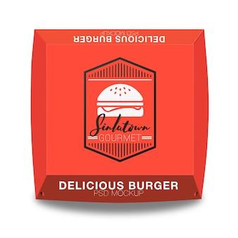 ハンバーガーパッケージングデザインをモックアップ