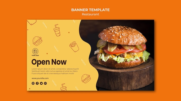 Burger restaurant banner template with photo