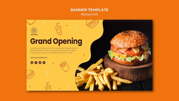Burger restaurant banner template