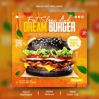 Бургер ресторан счастливый час продвижение instagram пост баннер шаблон