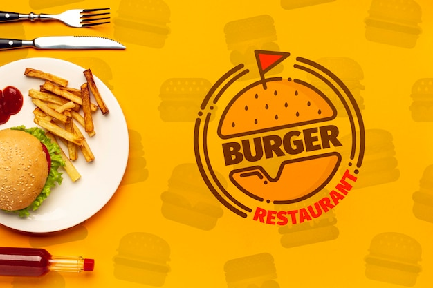 Burger restaurant and plate on fast food doodle background