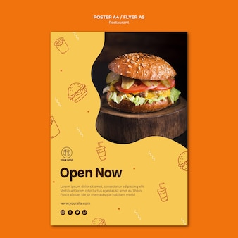 Burger restaurant poster template with photo