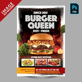 Burger restaurant promotion flyer