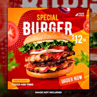 Ресторан burger в социальных сетях публикует веб-баннер