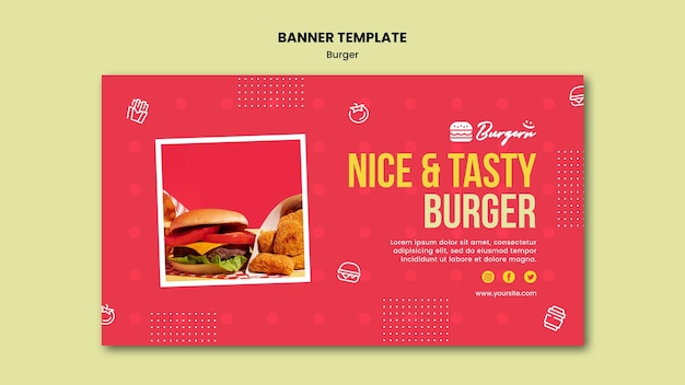 Burger restaurant template banner
