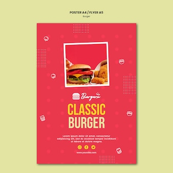 Burger restaurant template poster