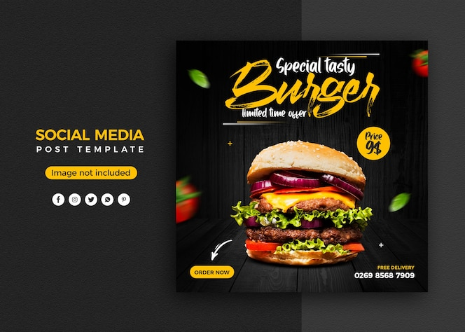 Burger promozione sui social media e modello di progettazione di post banner instagram