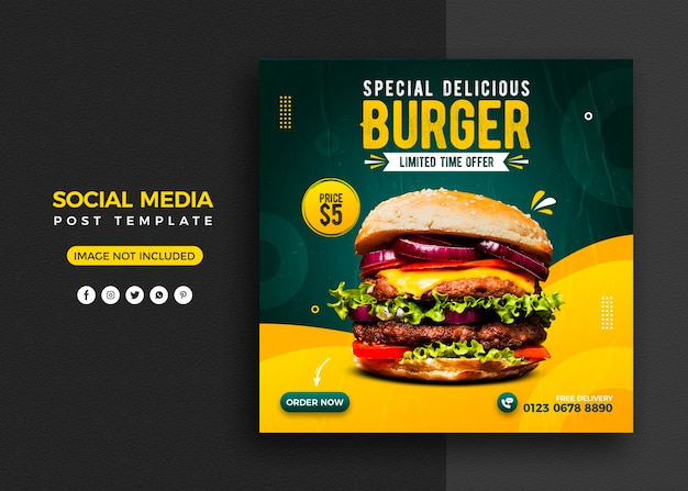 Burger social media promotion and instagram banner post design template