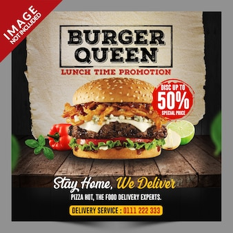 Burger social media promotion template
