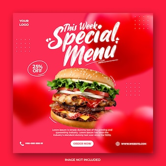 Бургер специальное меню продвижение в социальных сетях instagram пост баннер шаблон с сердцем
