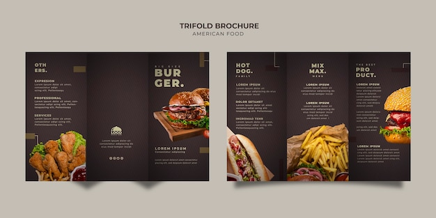 Burger trifold brochure template
