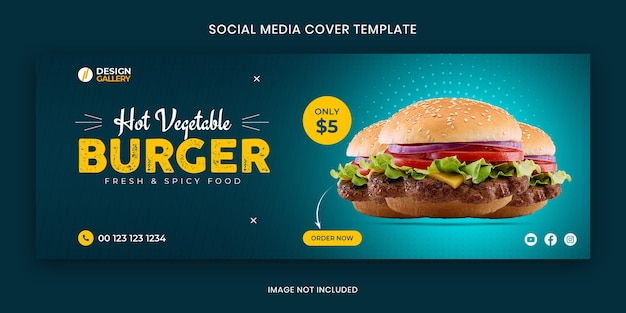 Burger web and social media fast food restaurant cover banner template