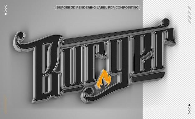 햄버거 단어 검정색과 노란색 3d 렌더링 절연