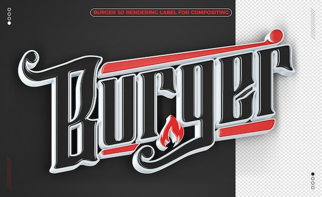 Burger word black and red 3d rendering