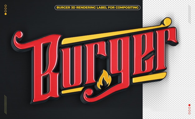 Burger word black and yellow 3d rendering isolated