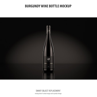 Burgundy wine bottle mockup
