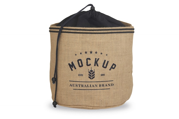 Burlap sack with logo mockup