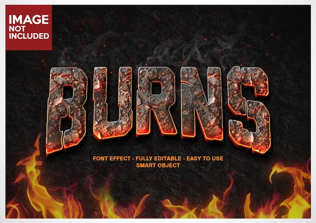 Burn fire font effect editable layers