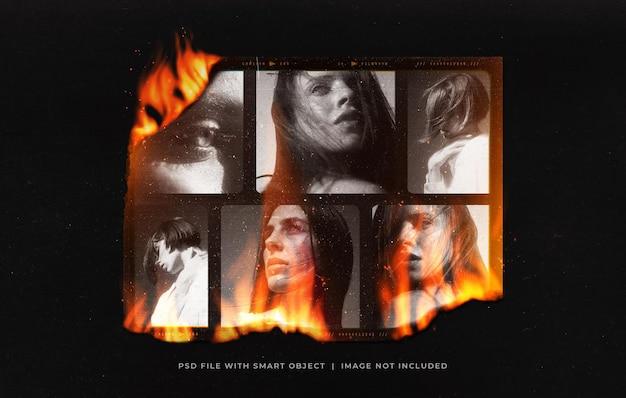 光漏れとダストオーバーレイで焼けた写真フィルムフレームモックアップ