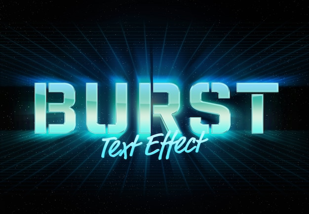 Burst retro style text effect template