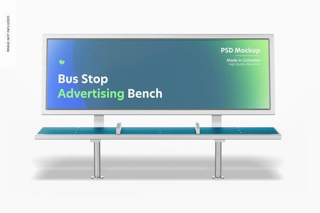 Mockup di panca pubblicitaria per fermata dell'autobus, vista frontale