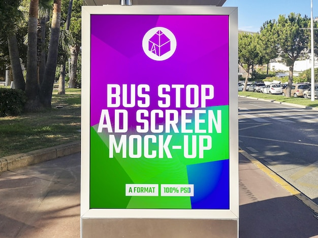 Bus stop advertising billboard mockup