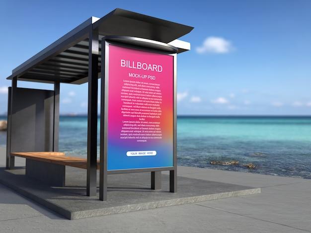 Bus stop advertising billboard mockup