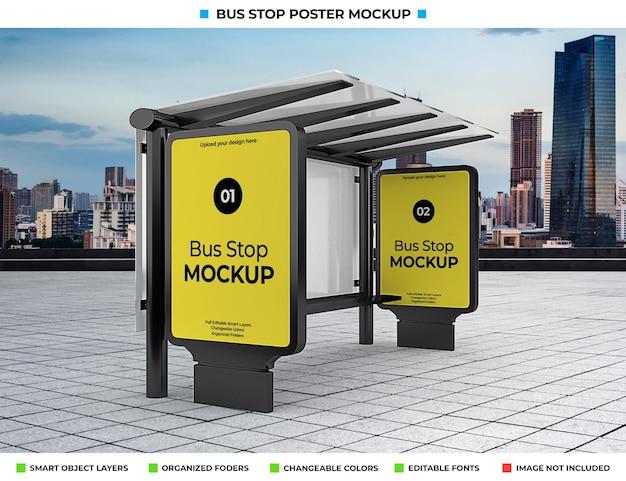 도시 거리에 고립 된 버스 정류장 광고 모형