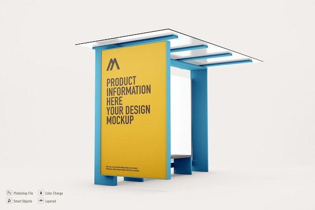 Bus stop announcement mockup on soft color