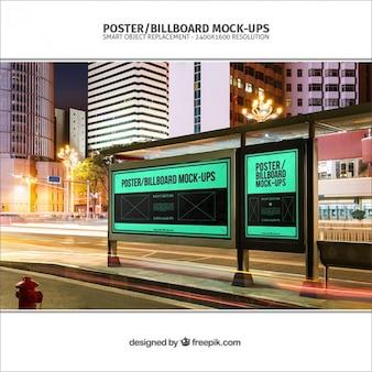 Bus stop billboards mockup