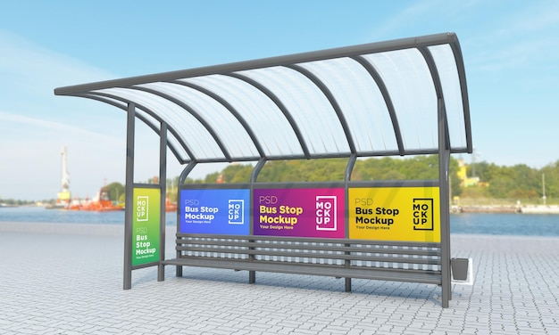 Bus stop bus shelter four signs mockup 3d rendering