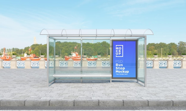 Bus stop bus shelter sign mockup 3d rendering