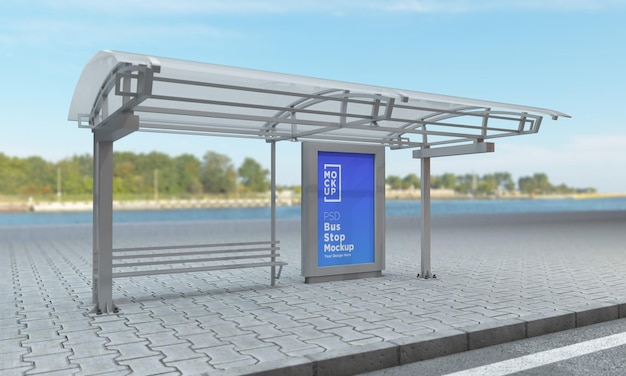 Bus stop bus shelter sign mockup 3d rendering