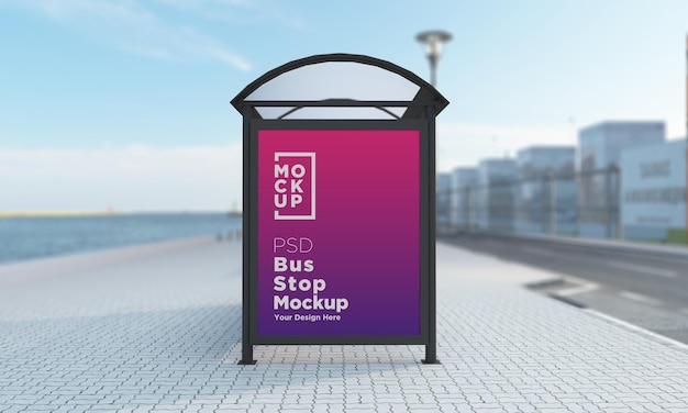 バス停バスシェルターサインモックアップ3dレンダリング