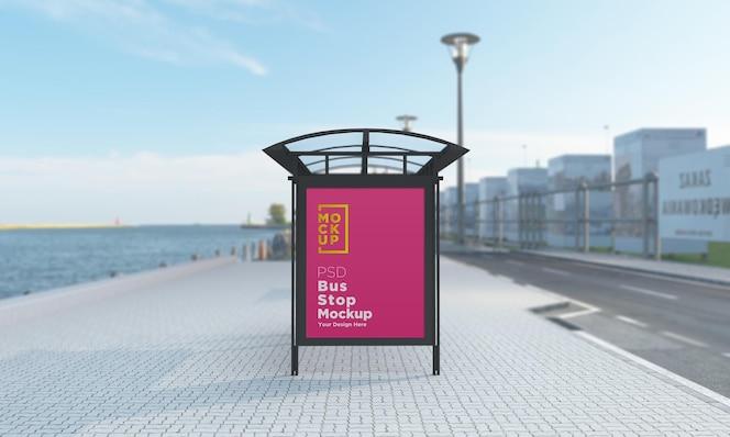 巴士站总线住房符号样机3d渲染