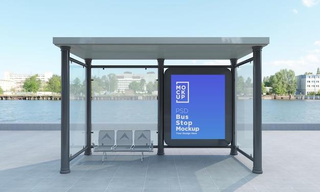 Автобусная остановка, автобусное убежище, знак, макет, 3d визуализация