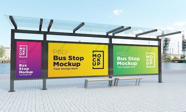 バス停バスシェルター3つのサインのモックアップ3dレンダリング