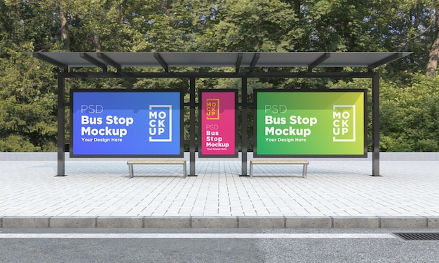 Bus stop bus shelter three signs mockup 3d rendering