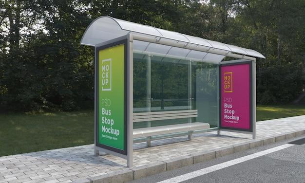 버스 정류장 버스 정류소 두 기호 모형 3d 렌더링