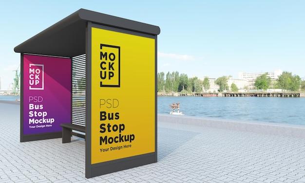 버스 정류장 버스 정류소 두 표지판 모형 3d 렌더링