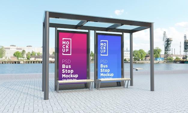 バス停バスシェルター2つの標識モックアップ3dレンダリング