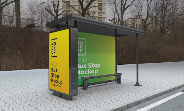 Bus stop bus shelter two signs mockup 3d rendering
