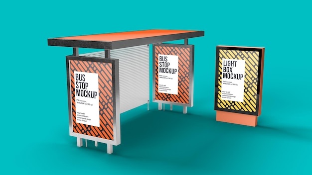 Bus stop and light box mockup design isolated
