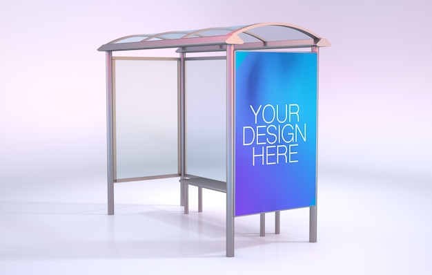 Bus stop mockup isolated