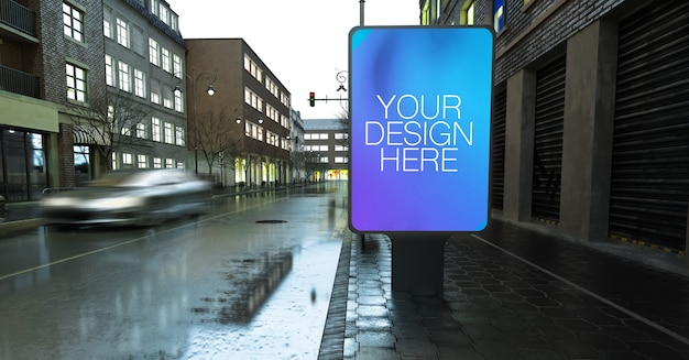 Bus stop mockup on rainy street in the city