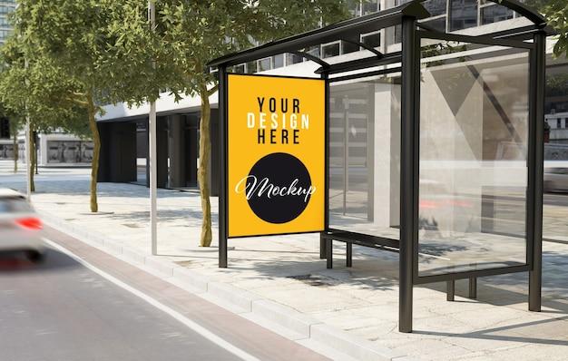 Автобусная остановка на улице макет