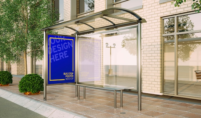 Bus stop poster fashion sale mockup 3d rendering