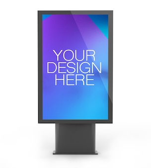 Bus stop poster mockup isolated