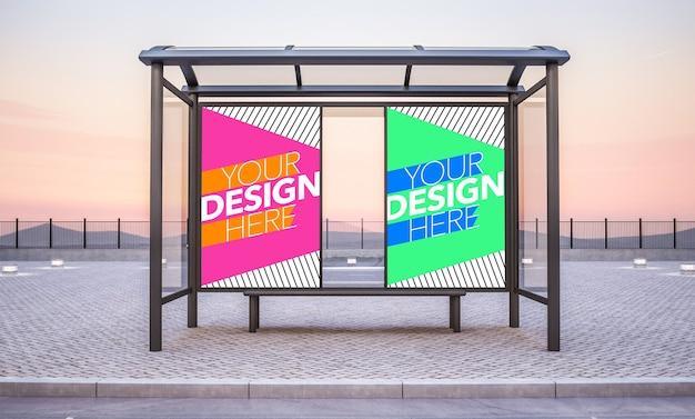 두 개의 포스터가 모의 된 버스 정류장